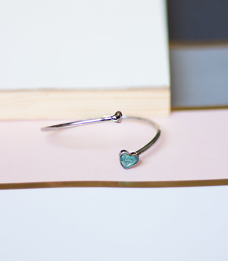 Mini Heart Bangle - Blue Apatite