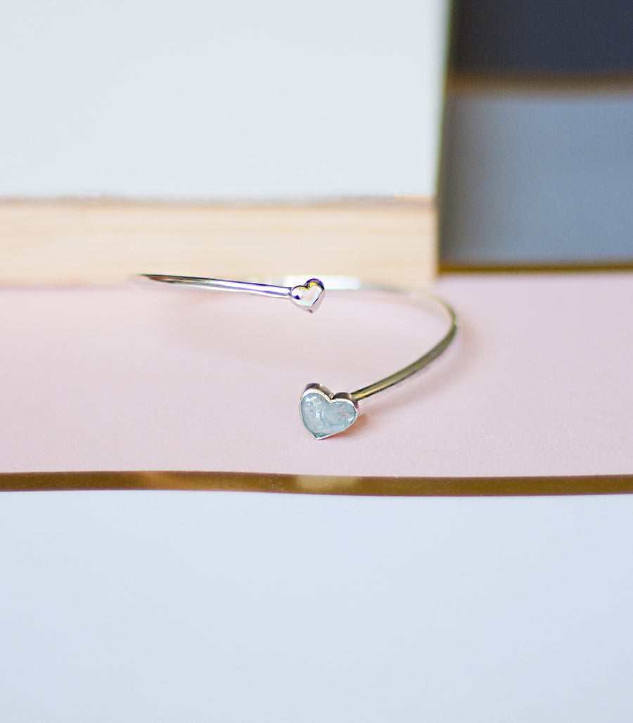 Mini Heart Bangle - Aquamarine