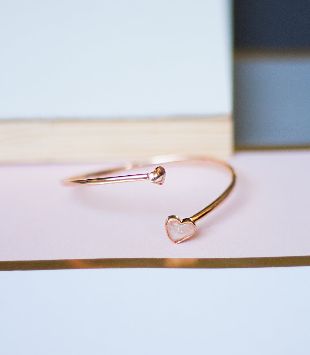 Mini Heart Bangle - Rose Quartz