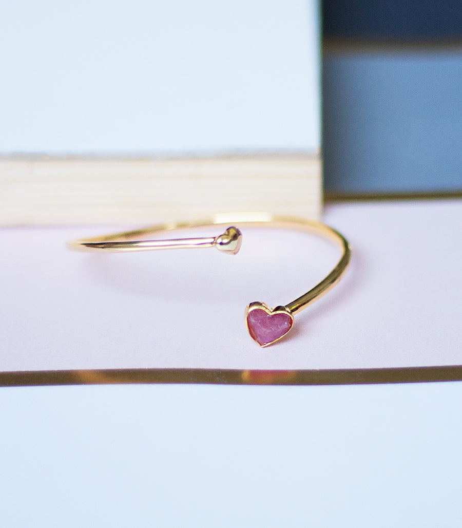Mini Heart Bangle - Tourmaline