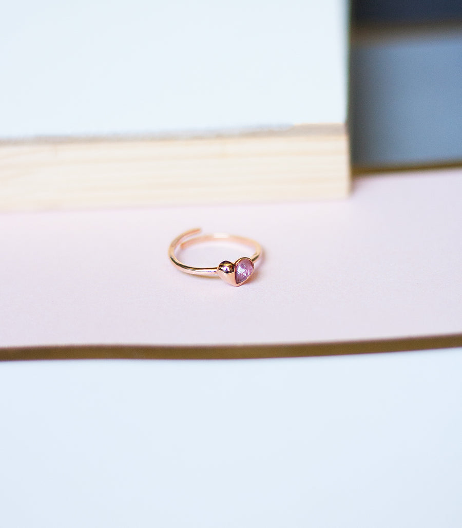 Mini Heart Ring - Pink Amethyst