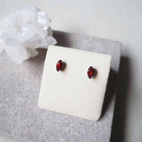 Marquise Earrings - Red Garnet