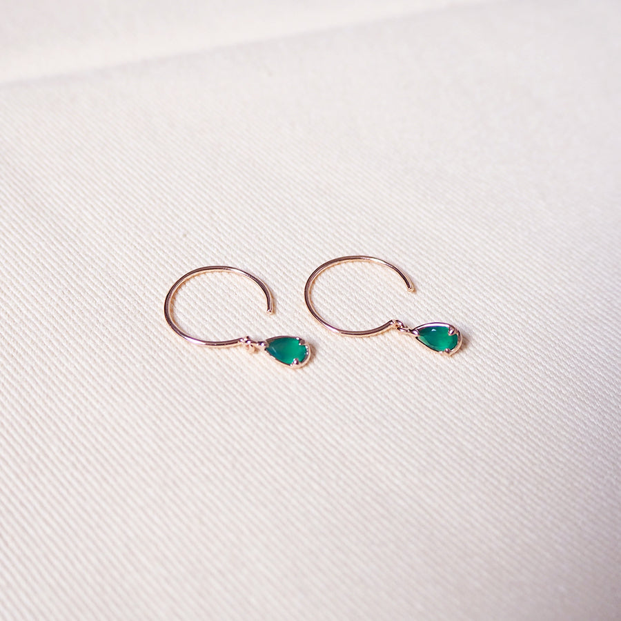Sandra Earrings - Green Onyx