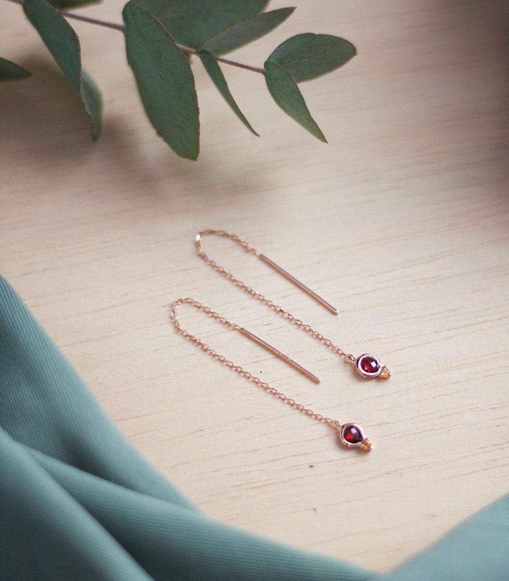 Tessa Earrings - Garnet in 925Silver (BACKORDER)