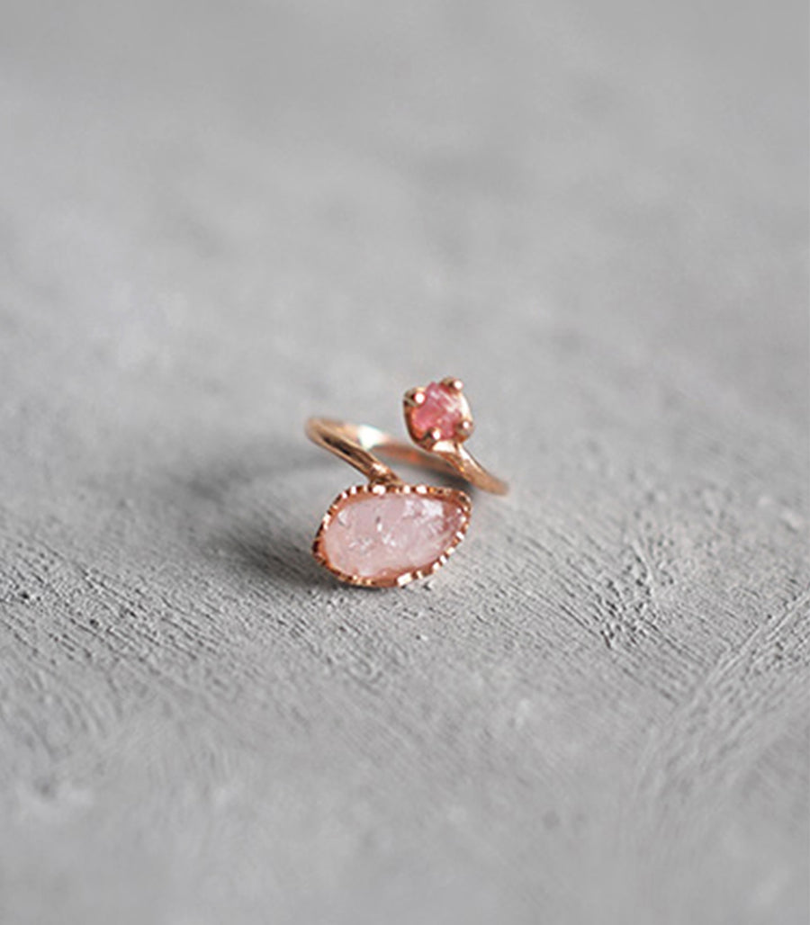 Twist Firework Ring - Rose Quartz and Tourmaline