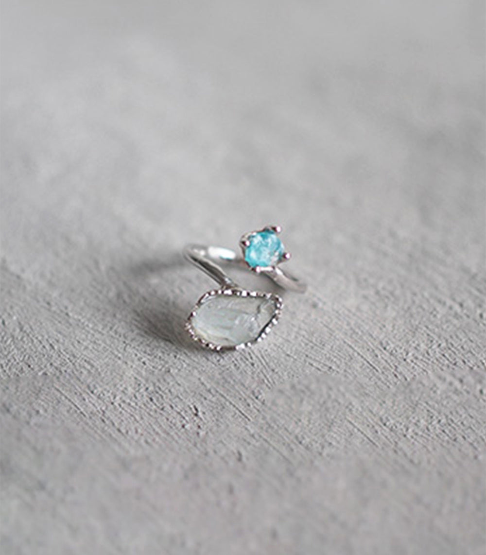 Twist Firework Ring - Aqua and Blue Apatite