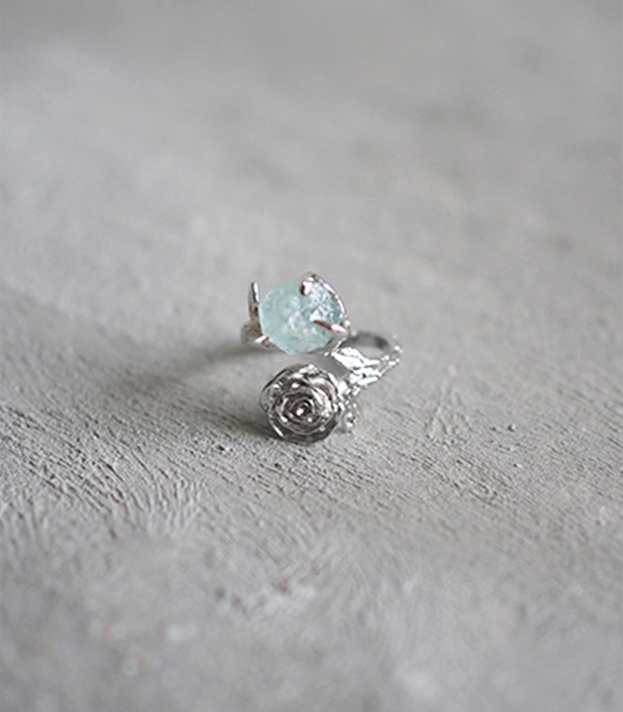 Twist Rose Ring - Aquamarine