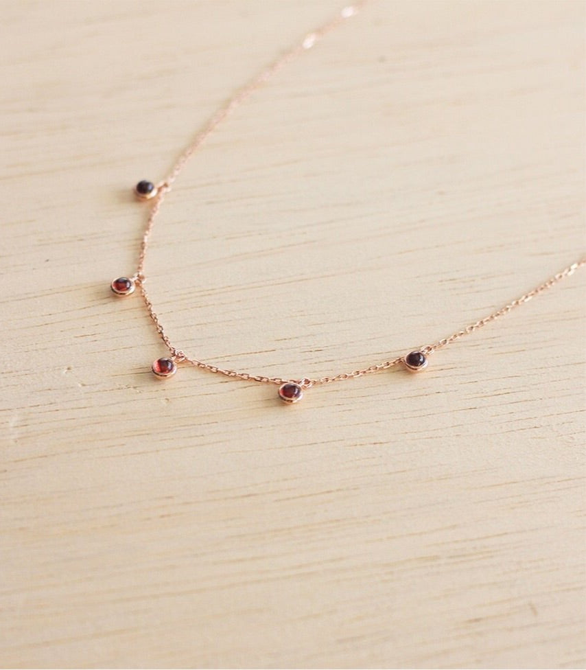 Aria pendant - Red Garnet in Rose Gold