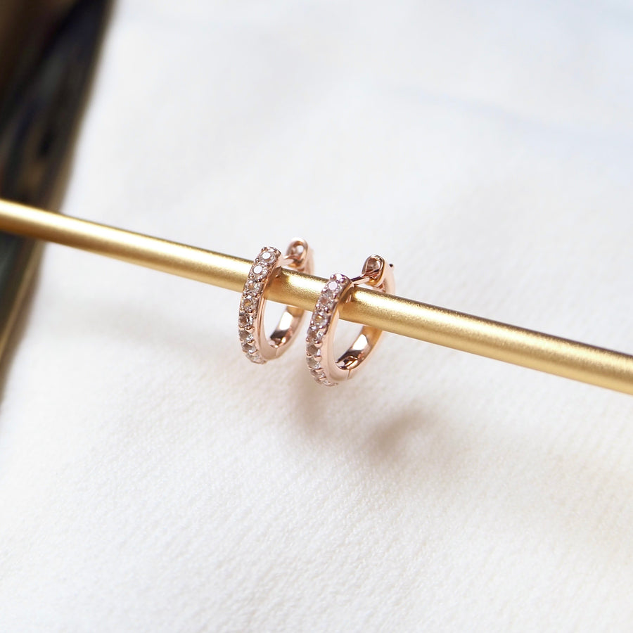 Classic Huggies Earrings - White Topaz (RoseGold) BACKORDER