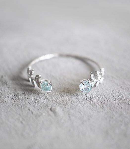 Leaf Bangle - Aquamarine