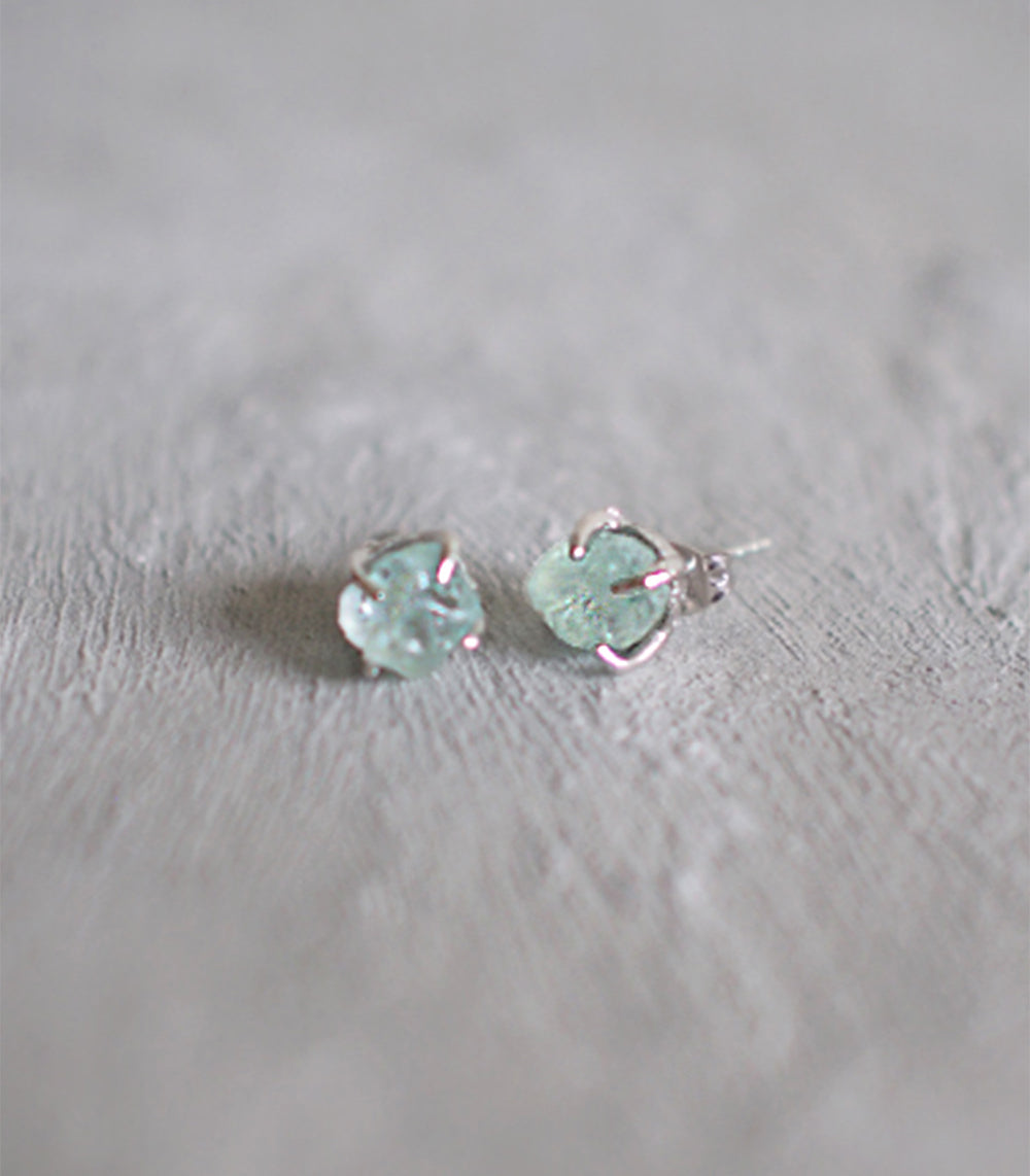 Small Rough Earrings (Silver) - Aquamarine