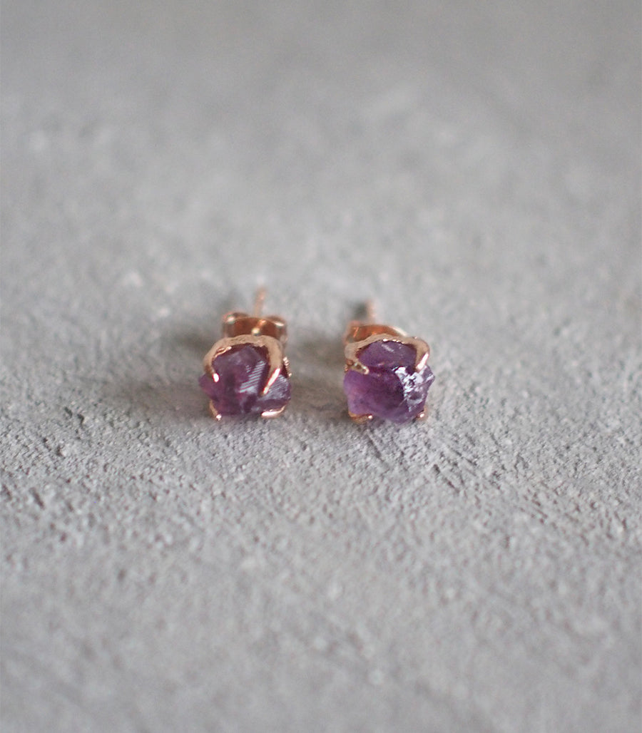 Small Rough Earrings (Rose Gold) - Pink Amethyst