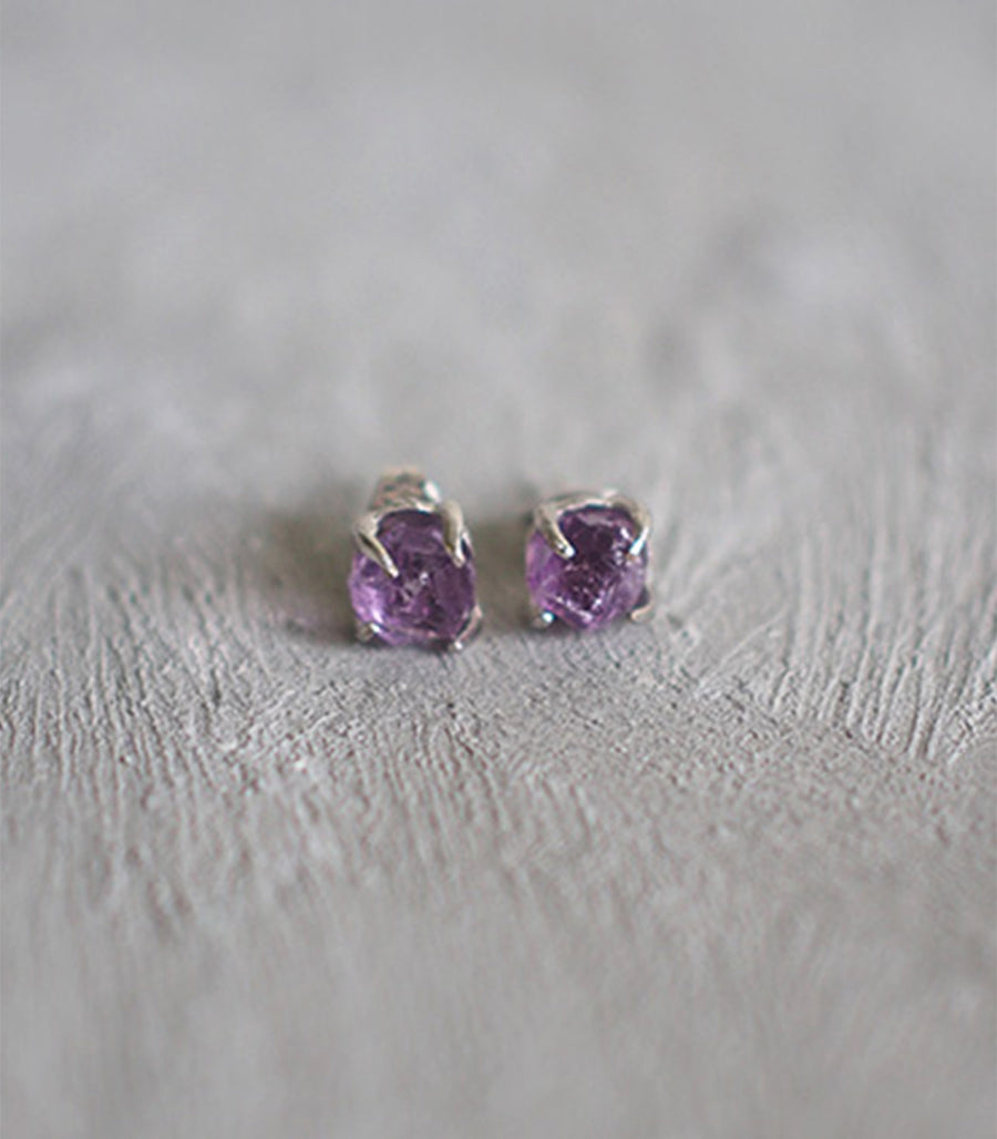 Small Rough Earrings (Silver) - Pink Amethyst