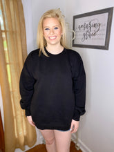 Load image into Gallery viewer, Chilly Nights Pocketed Crewneck - Black