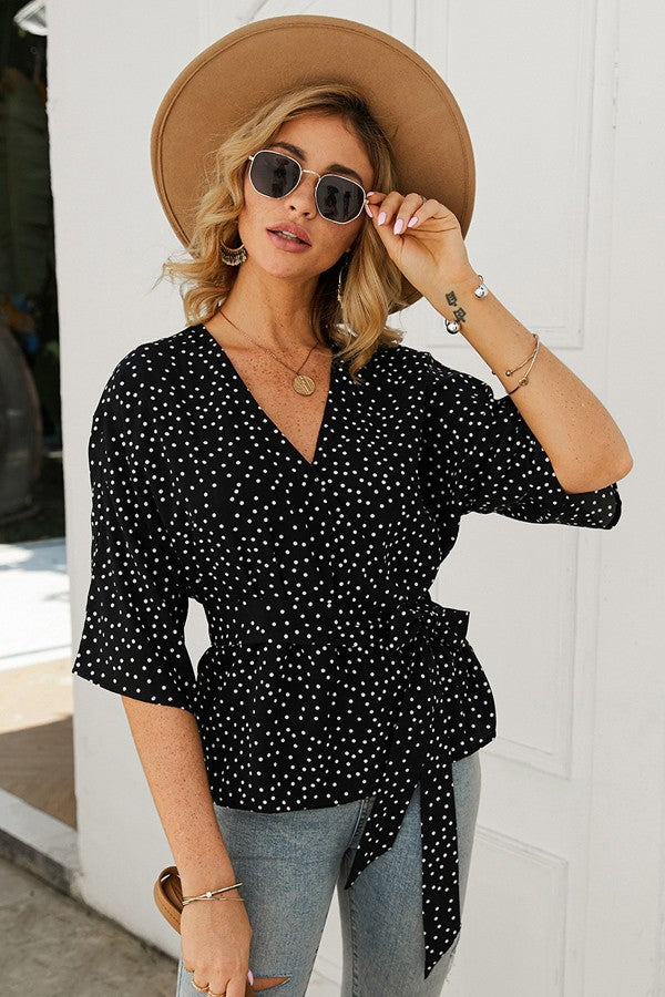 Dotted Wrap Top - Black