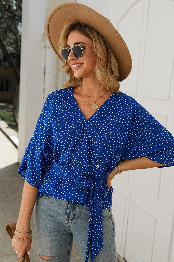 Dotted Wrap Top - Blue