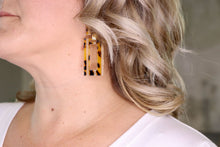 Load image into Gallery viewer, Cheetah Print Rectangle Drop Earrings