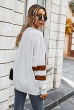 Load image into Gallery viewer, Camel and White Color Block Sweater