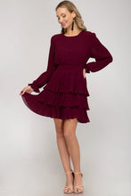 Load image into Gallery viewer, Ruffle Me Up Dress - Wine