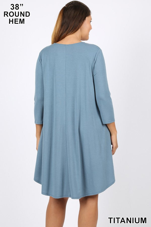 Cool and Collective Pocket Dress PLUS- Multiple Colors