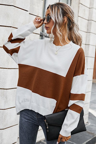 Camel and White Color Block Sweater
