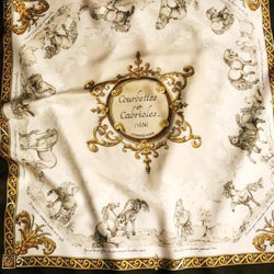 Hermes Silk Scarf Courbettes et Cabrioles (1654) in beige and brown