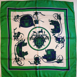 Ex Libris Hermes scarf in green, white and navy