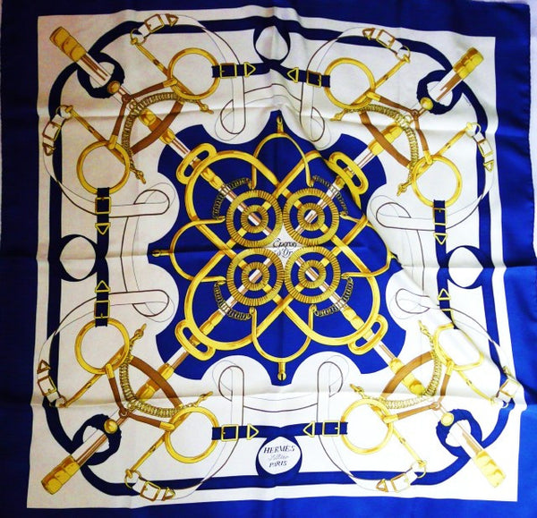 Eperon d'Or HERMES scarf in white and blue