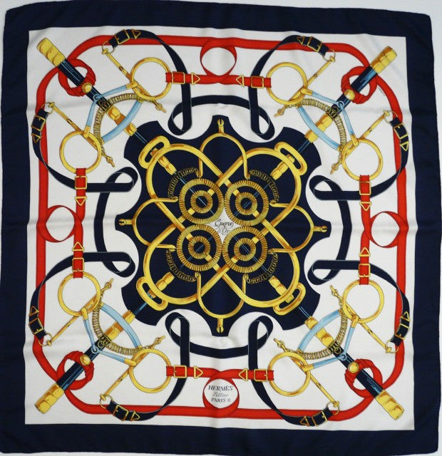 Authentic Vintage Hermes Silk Scarf Eperon d'Or by Henri d'Origny Red White and Blue