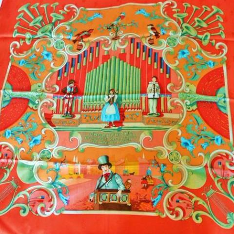 Authentic Vintage Hermes Silk Jacquard Scarf Orgauphone