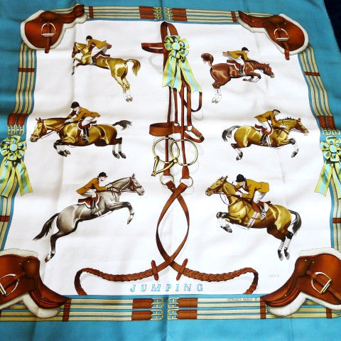 Authentic Vintage Hermes Silk Scarf Jumping by Philippe Ledoux