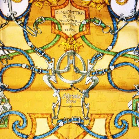 Authentic Vintage Hermes Silk Jacquard Scarf L'Instruction Du Roy Gold