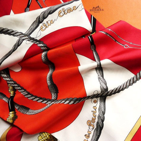Authentic Vintage Hermes Silk Opera Scarf Clic Clac Julia Abadie with Hermes Box