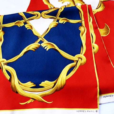 Authentic Vintage Hermes silk Echarpe Opera Scarf Crown Red and Blue Rare