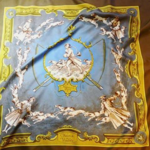 Authentic Vintage Hermes Silk Scarf Chiens et Valets by Charles-Jean Hallo 1963 RARE