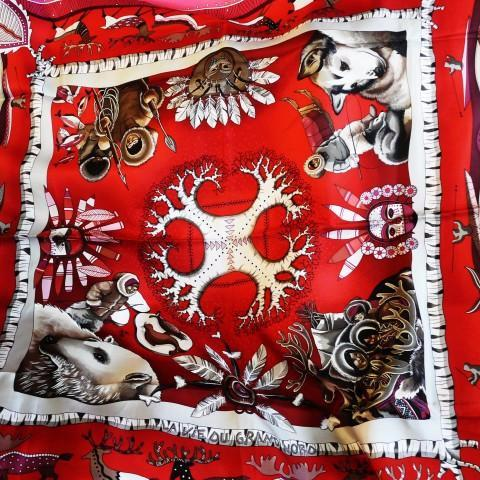 Authentic Vintage Hermes Silk Scarf La Vie du Grand Nord