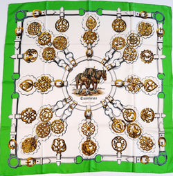 Cuivreries HERMES Silk Scarf green and white