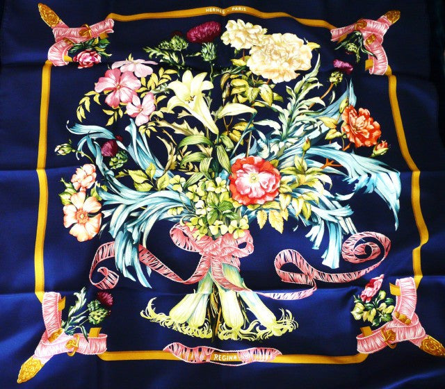 Authentic Vintage Hermes Silk Scarf Regina Navy Unworn