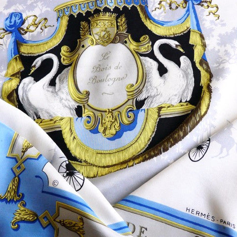 Le Bois de Boulogne HERMES Scarf by Hugo Grygkar Light Blue