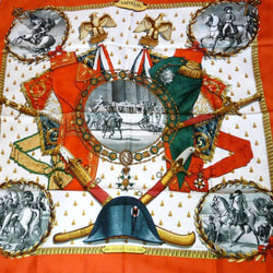 Hermes Silk Jacquard Scarf Napoleon Original Issue Red and Green RARE