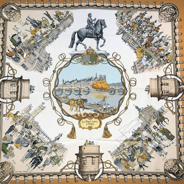 RESERVED Le Pont Neuf a Paris Hermes Scarf by Philippe Ledoux 90 cm Silk GRAIL