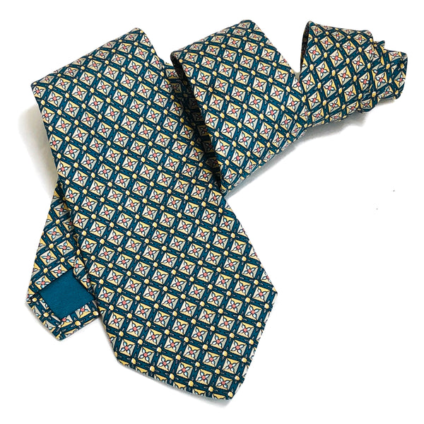 Hermes Silk Necktie  7725 OA Dark Teal/Yellow/Pink