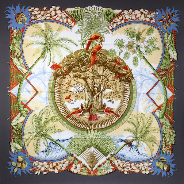 Aloha Hermes silk twill scarf 90cm with warm gray border