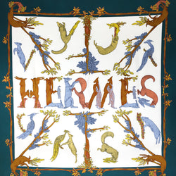 Alphabet III Hermes Silk Scarf Annie Faivre with dark teal border