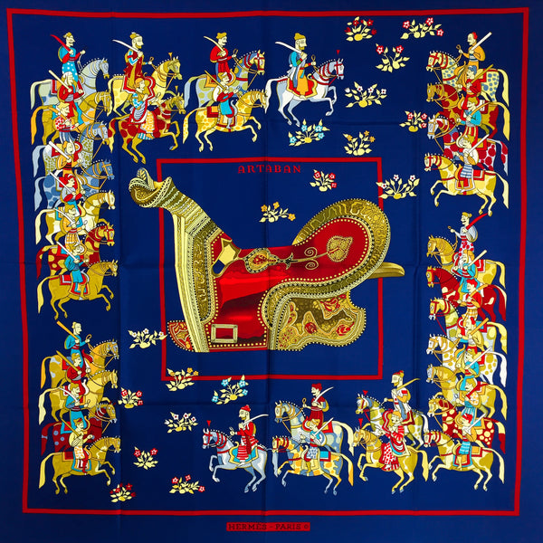 Artaban Hermes Silk Scarf by Pierre Peronin deep blue, red and golden yellows