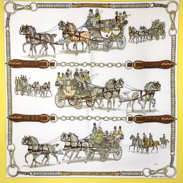 On Hold Attelages a Quatre (1820-1860) Hermes Silk Scarf RARE