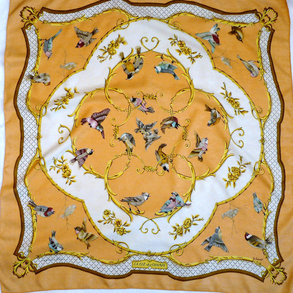Authentic La Cle des Champs HERMES Silk Jacquard Scarf 90 cm