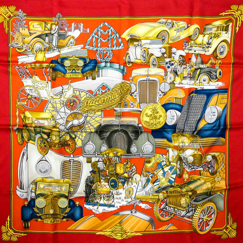 Automobile HERMES Silk Scarf in red