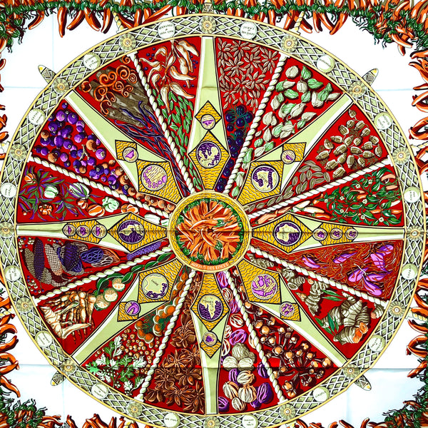 Aux Pays des Epices Hermes silk scarf in red on white