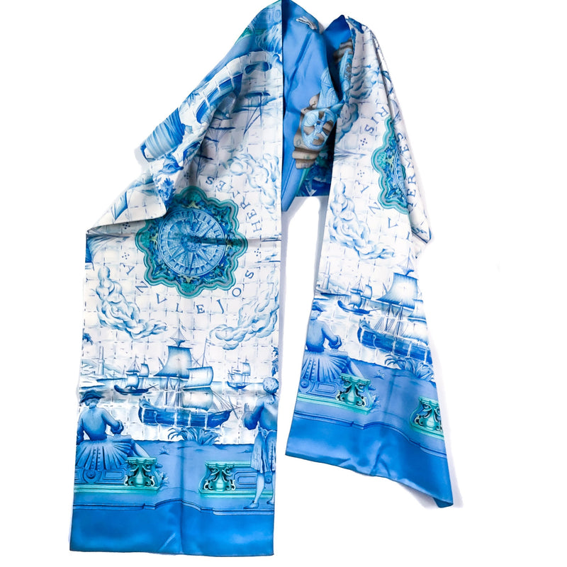 Azulejos Hermes Reversible Shawl/Opera Scarf by Catherine Baschet Silk RARE